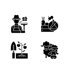 Work on farm black glyph icons set on white space vector