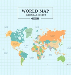 World map full color high detail vector