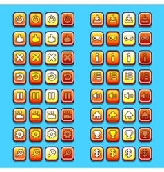 yellow game icons buttons icons interface ui vector image