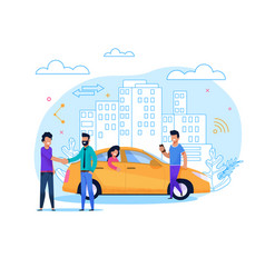 yellow taxi order or share flat line vector image