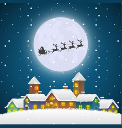 christmas santa claus flying on a sleigh over the vector image vector image