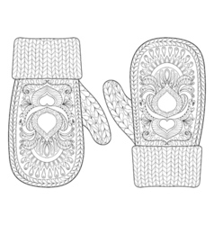 Christmas warm knitted mittens vector image vector image
