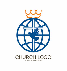 cross dove and globe vector image vector image
