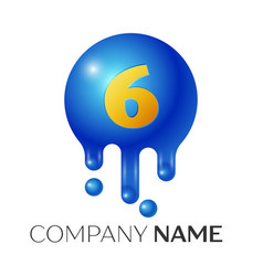 number six splash logo blue dots and bubbles vector image vector image