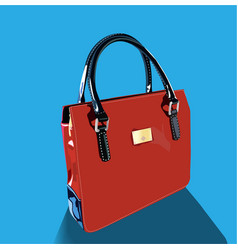 realistic red bag with handles on blue background vector image