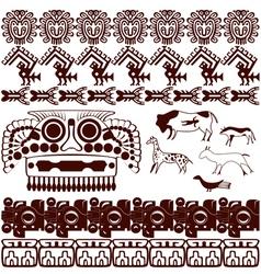 Set of ancient American ornaments vector image vector image