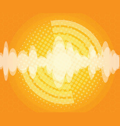 abstract sound wave with halftone background vector image vector image