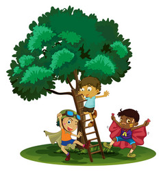 boys playing hero in the park vector image vector image