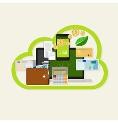 cloud financial money management online service vector image vector image