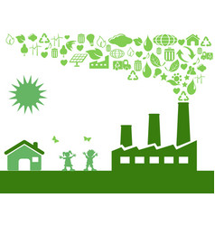 green eco factory vector image vector image