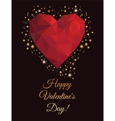 Greeting card on Valentines Day in low poly style vector image