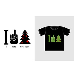 I hate new year and Christmas tree Logo for vector image