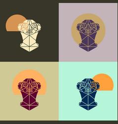 Meerkat head triangular icon vector