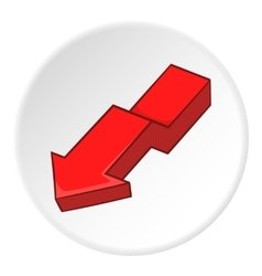 Red arrow icon cartoon style vector image
