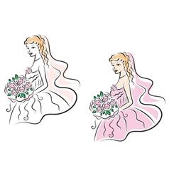 Young pretty bride on wedding ceremony vector image