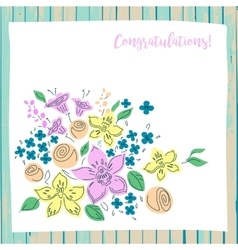 congratulation card on wood background vector image vector image