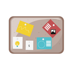 cork board with notes icon vector image