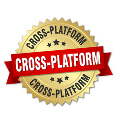 Cross-platform round isolated gold badge vector
