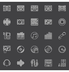 DJ icons or logo elements vector image vector image