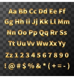 Glossy metal font Golden letters and numbers on vector image vector image