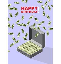 Happy Birthday Case of money Wealth vector image