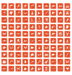 100 animals icons set grunge orange vector