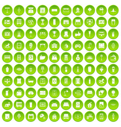 100 interior icons set green vector image