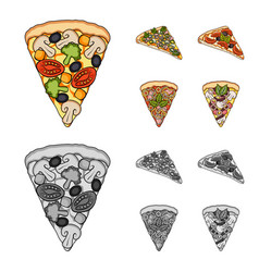 A slice of pizza with different ingredients vector