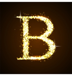 Alphabets B of gold glittering stars vector image