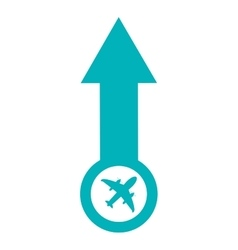 Arrow pointing up with airplane icon vector