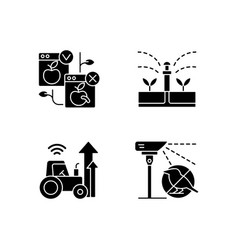 Automated systems in agriculture black glyph vector