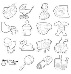 Baby born icons set cartoon outline style vector