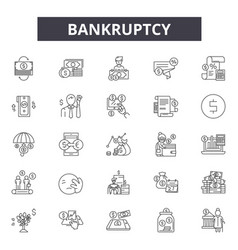 Bankruptcy line icons for web and mobile design vector