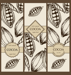 Banner set witn hand drawn cocoa vertical banner vector