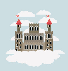 big castle of fairy tales in sky surrounded by vector image
