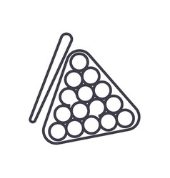 billiards line icon sign on vector image vector image