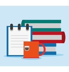 Books and mug of office and work design vector