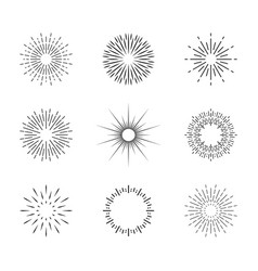 burst sun vintage sunburst with sparks circles vector image