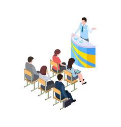 business training coach on tribune 3d people vector image