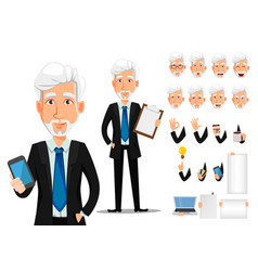 Businessman cartoon character creation set vector