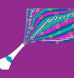 champagne party bottle retro color splash art vector image