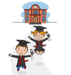 Children in graduation suits leaving school vector
