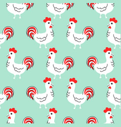 Cock white cartoon seamless pattern vector