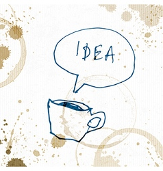 Coffee cup with idea word creative concept hand vector