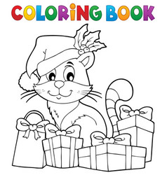 Coloring book christmas cat theme 3 vector