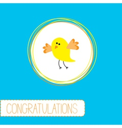 Congratulations card with cute yellow bird vector