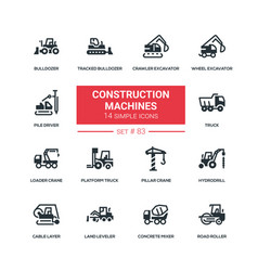construction machines - flat design style icons vector image
