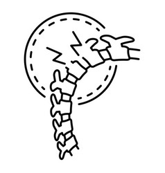cracked spine icon outline style vector image