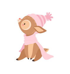 Cute baby deer wearing pink knitted hat and scarf vector