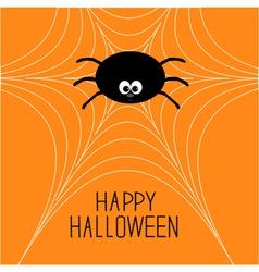 Cute cartoon spider on the web Halloween card vector